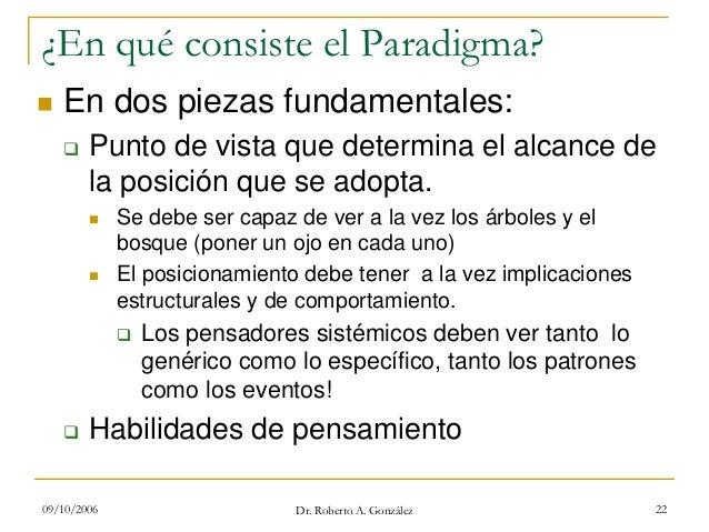 09/10/2006 Dr. Roberto A. González 22 ¿En qué consiste el Paradigma? En dos piezas fundamentales: Punto de vista que deter...
