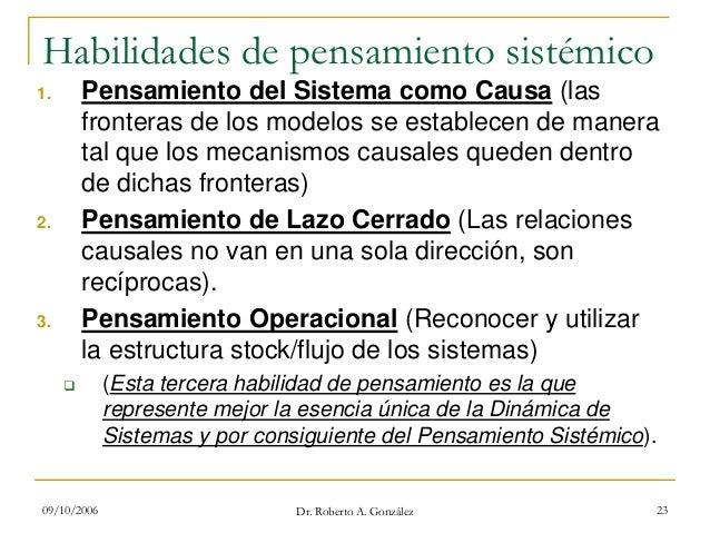 09/10/2006 Dr. Roberto A. González 23 Habilidades de pensamiento sistémico 1. Pensamiento del Sistema como Causa (las fron...