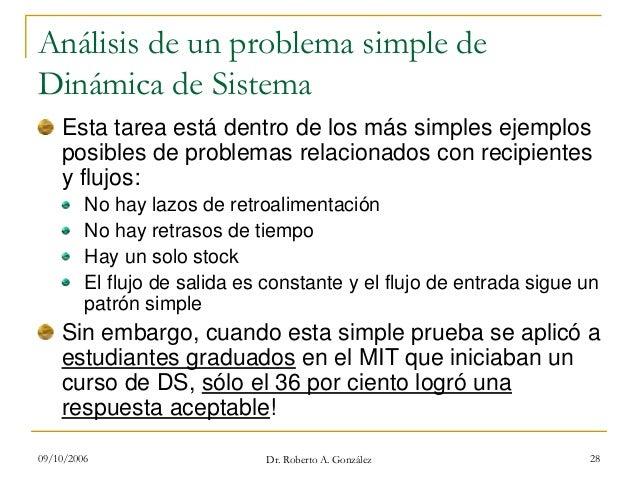 09/10/2006 Dr. Roberto A. González 28 Análisis de un problema simple de Dinámica de Sistema Esta tarea está dentro de los ...