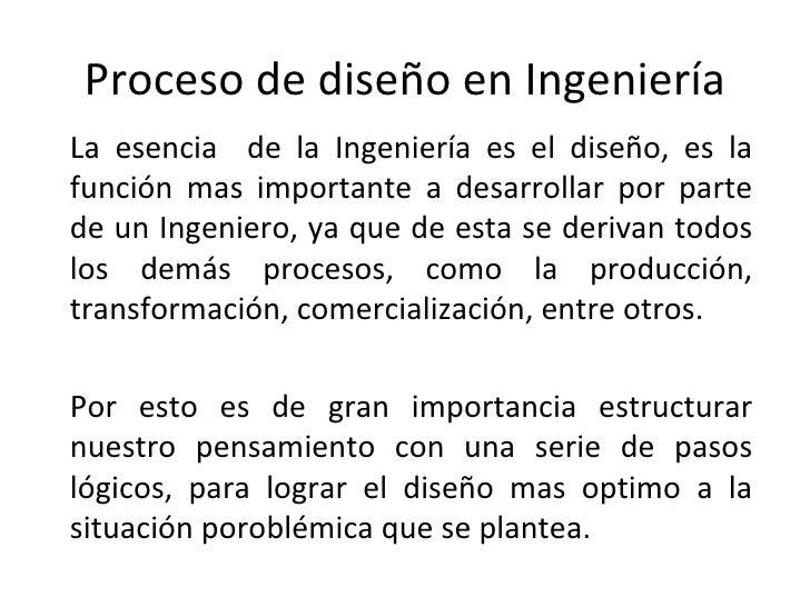 proceso de diseño en ingeniería