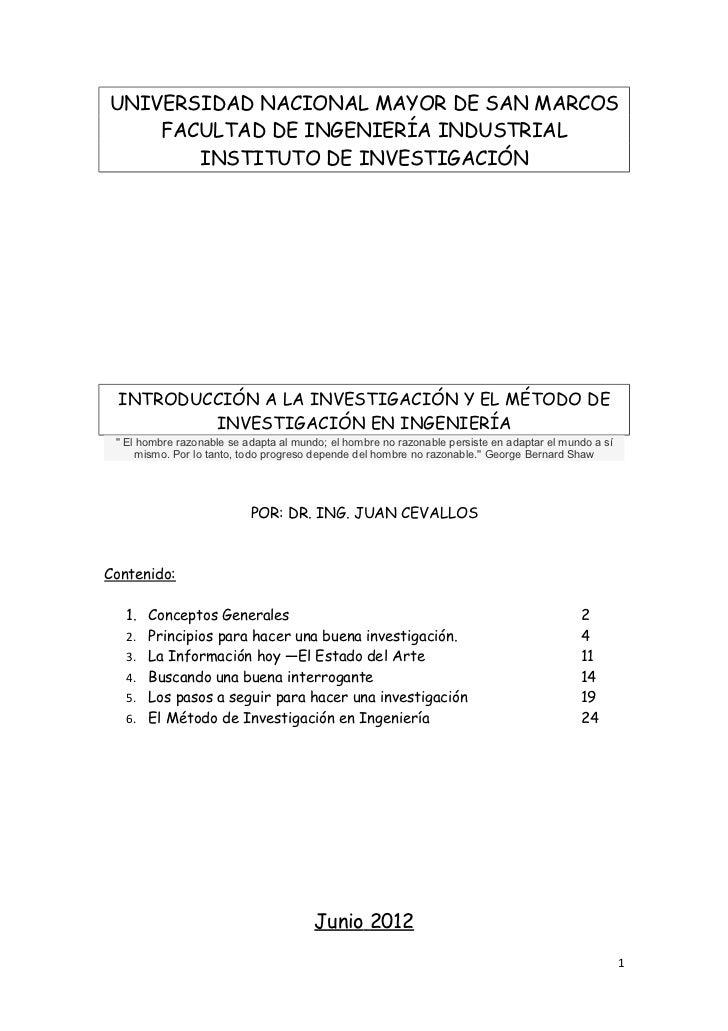 UNIVERSIDAD NACIONAL MAYOR DE SAN MARCOS    FACULTAD DE INGENIERÍA INDUSTRIAL       INSTITUTO DE INVESTIGACIÓN INTRODUCCIÓ...