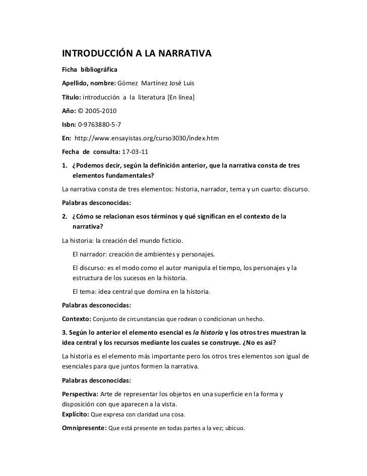 INTRODUCCIÓN A LA NARRATIVAFicha bibliográficaApellido, nombre: Gómez Martínez José LuisTítulo: introducción a la literatu...