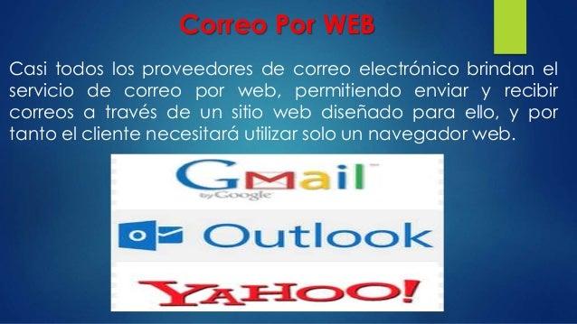 Correo Por WEB Casi todos los proveedores de correo electrónico brindan el servicio de correo por web, permitiendo enviar ...