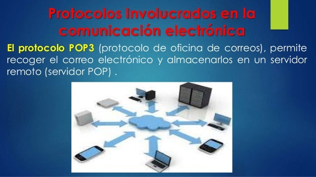Protocolos Involucrados en la comunicación electrónica El protocolo POP3 (protocolo de oficina de correos), permite recoge...