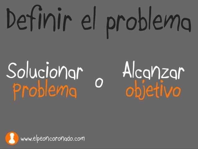 Solucionar Problema Alcanzar objetivoo Definir el problema www.elpeoncoronado.com