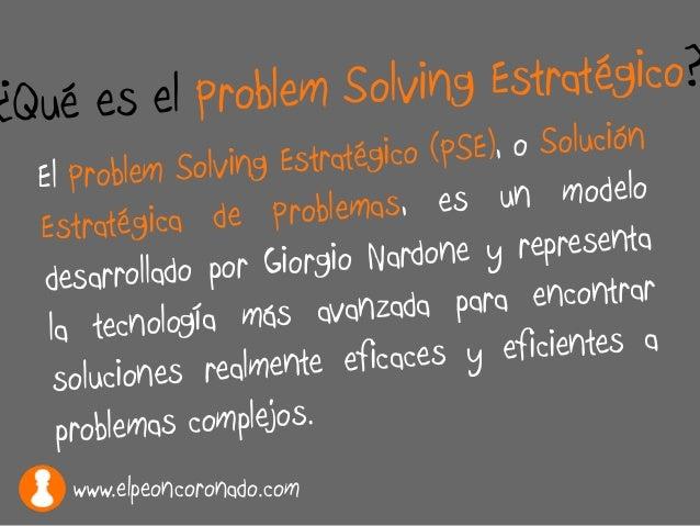 El Problem Solving Estratégico (PSE), o Solución Estratégica de Problemas, es un modelo desarrollado por Giorgio Nardone y...