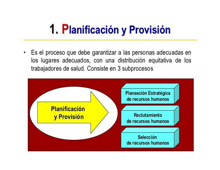 1. Planificación y Provisión • Es el proceso que debe garantizar a las personas adecuadas en   los lugares adecuados, con ...