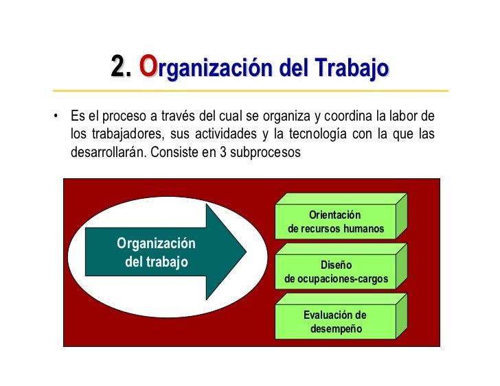 2. Organización del Trabajo • Es el proceso a través del cual se organiza y coordina la labor de   los trabajadores, sus a...