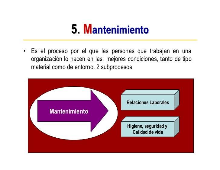 5. Mantenimiento • Es el proceso por el que las personas que trabajan en una   organización lo hacen en las mejores condic...