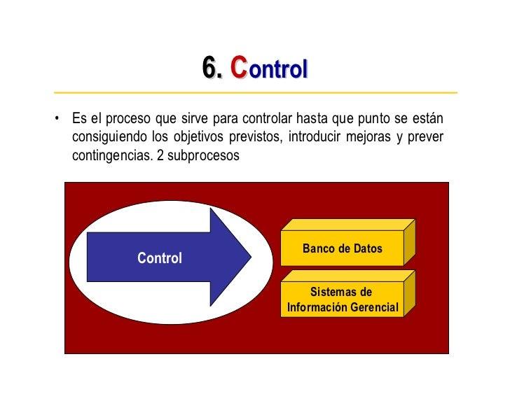 6. Control • Es el proceso que sirve para controlar hasta que punto se están   consiguiendo los objetivos previstos, intro...