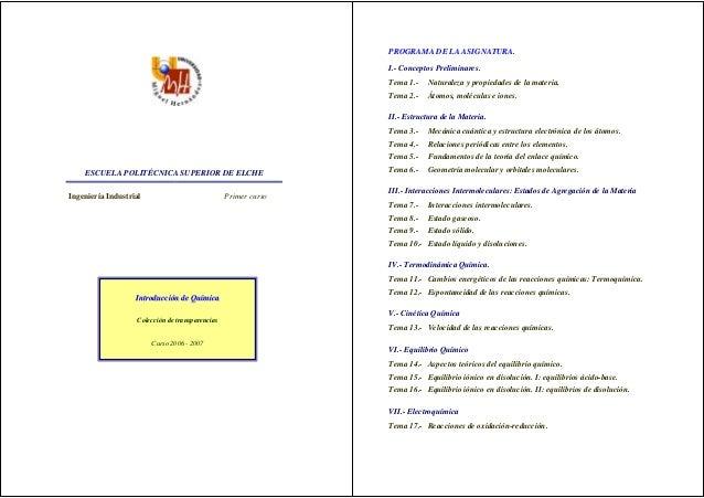 PROGRAMA DE LA ASIGNATURA.                                                                I.- Conceptos Preliminares.     ...