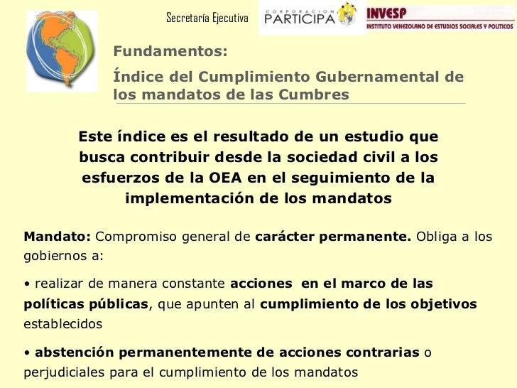 Secretaría Ejecutiva               Fundamentos:               Índice del Cumplimiento Gubernamental de               los m...