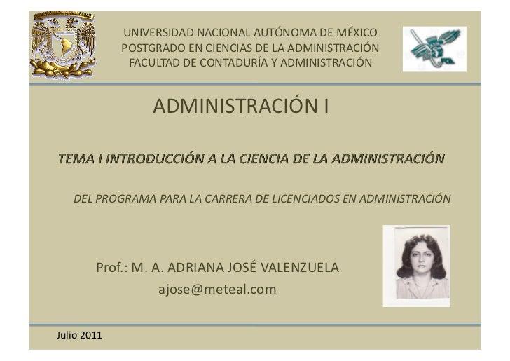 UNIVERSIDAD NACIONAL AUTÓNOMA DE MÉXICO                     POSTGRADO EN CIENCIAS DE LA ADMINISTRACIÓN...