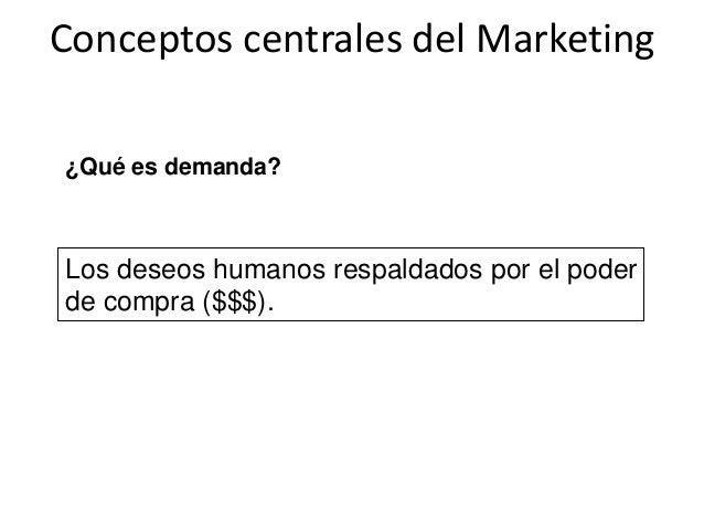 Conceptos centrales del Marketing ¿Qué es demanda? Los deseos humanos respaldados por el poder de compra ($$$).