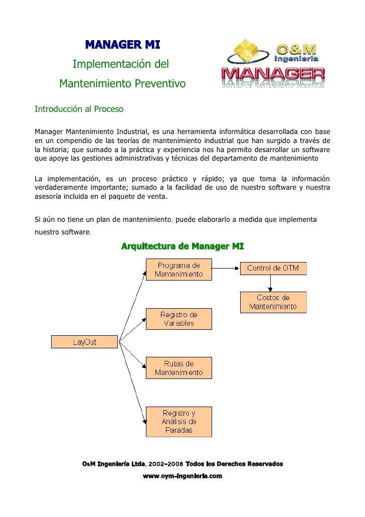MANAGER MI            Implementación del        Mantenimiento Preventivo  Introducción al Proceso  Manager Mantenimiento I...