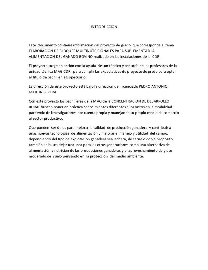 INTRODUCCIONEste documento contiene información del proyecto de grado que corresponde al temaELABORACION DE BLOQUES MULTIN...
