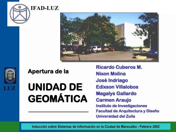 Ricardo Cuberos M. Nixon Molina José Indriago Edixson Villalobos Magalys Gallardo Carmen Araujo Instituto de Investigacion...