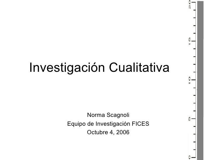 Investigaci ón Cualitativa Norma Scagnoli Equipo de Investigaci ón FICES Octubre 4, 2006