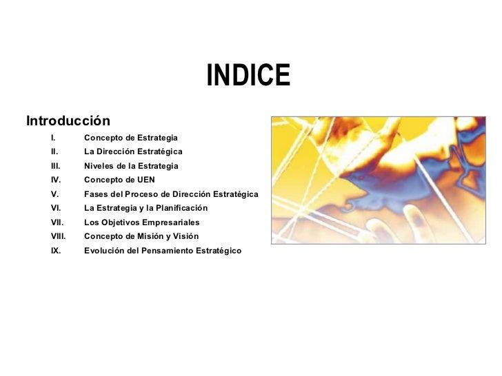 INDICE <ul><li>Introducción </li></ul><ul><ul><li>Concepto de Estrategia </li></ul></ul><ul><ul><li>La Dirección Estratégi...