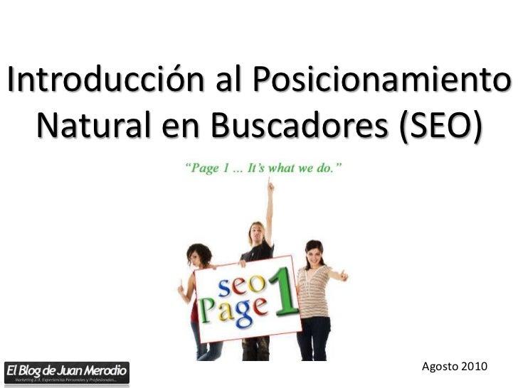 Introduccion al Posicionamiento Natural en Buscadores (SEO)