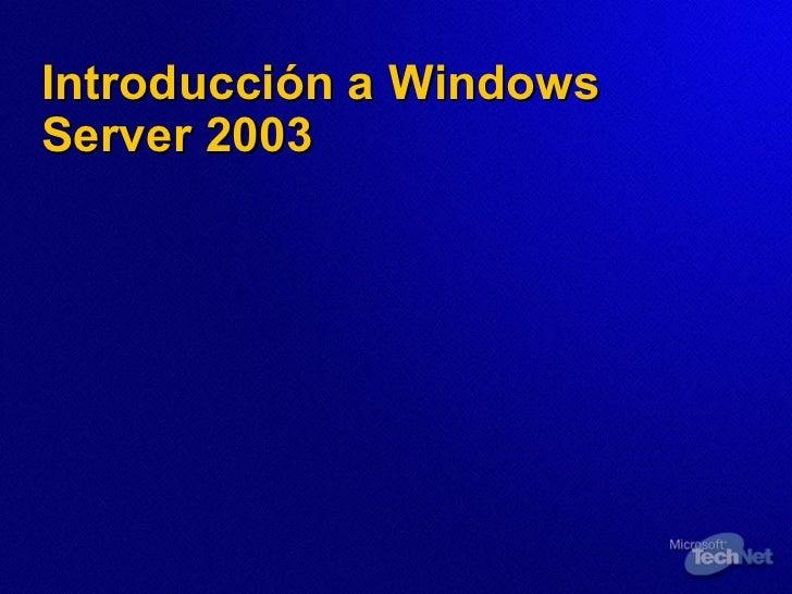 Introducción a Windows Server 2003