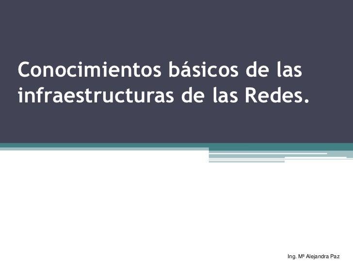 Conocimientos básicos de lasinfraestructuras de las Redes.                           Ing. Mª Alejandra Paz