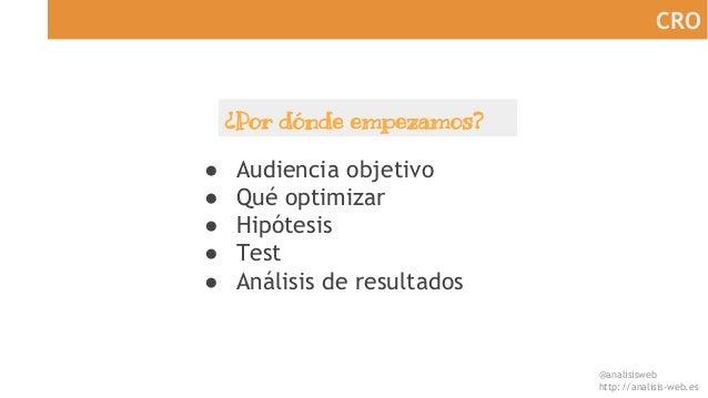 @analisisweb http://analisis-web.es CRO ● Audiencia objetivo ● Qué optimizar ● Hipótesis ● Test ● Análisis de resultados ¿...