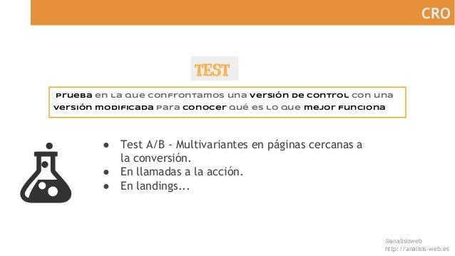 @analisisweb http://analisis-web.es CRO TEST Prueba en la que confrontamos una versión de control con una versión modifica...