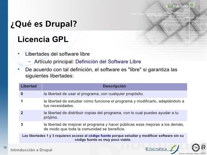 ¿Qué es Drupal?         Licencia GPL         • Libertades del software libre                – Artículo principal: Definici...