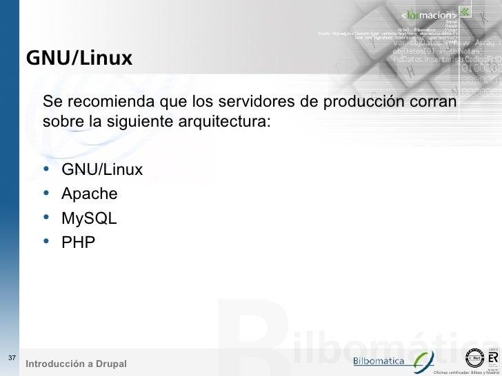 GNU/Linux          Se recomienda que los servidores de producción corran         sobre la siguiente arquitectura:         ...