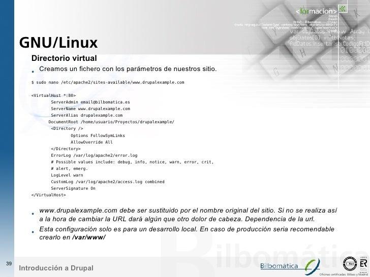 GNU/Linux         Directorio virtual         • Creamos un fichero con los parámetros de nuestros sitio.         $ sudo nan...