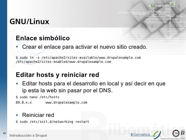 GNU/Linux          Enlace simbólico         • Crear el enlace para activar el nuevo sitio creado.         $ sudo ln -s /et...