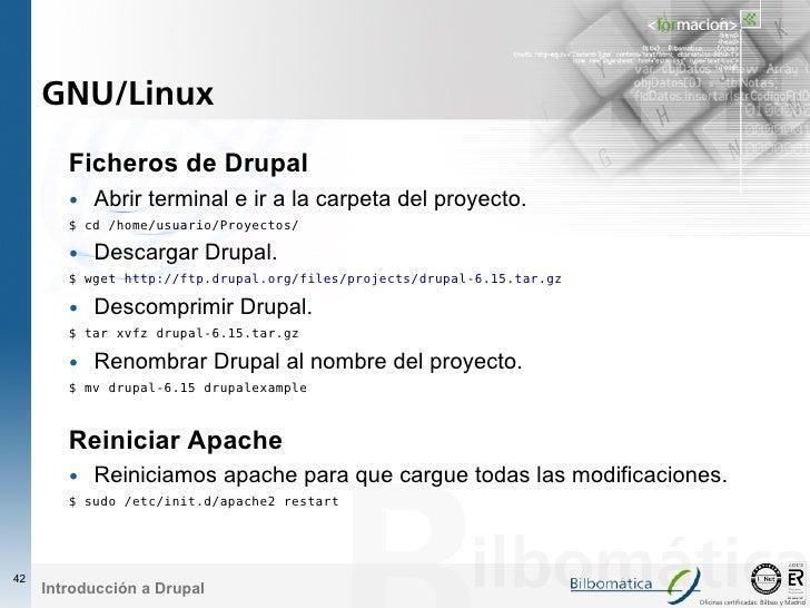 GNU/Linux          Ficheros de Drupal         • Abrir terminal e ir a la carpeta del proyecto.         $ cd /home/usuario/...