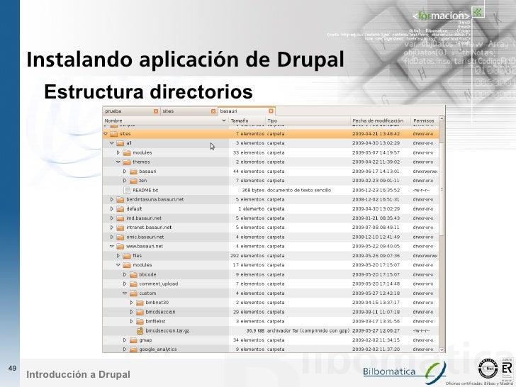 Instalando aplicación de Drupal         Estructura directorios     49      Introducción a Drupal                          ...