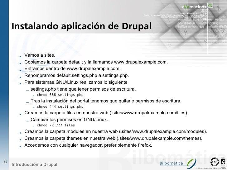 Instalando aplicación de Drupal           •   Vamos a sites.         •   Copiamos la carpeta default y la llamamos www.dru...