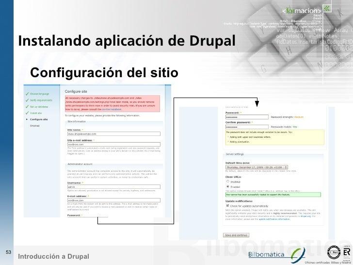 Instalando aplicación de Drupal          Configuración del sitio     53      Introducción a Drupal                        ...