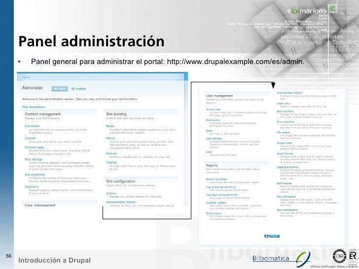 Panel administración      •   Panel general para administrar el portal: http://www.drupalexample.com/es/admin.     56     ...