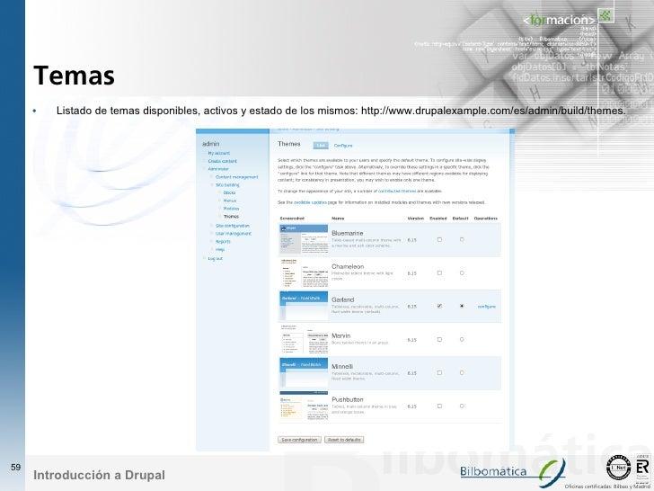 Temas      •   Listado de temas disponibles, activos y estado de los mismos: http://www.drupalexample.com/es/admin/build/t...