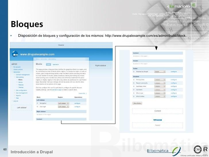 Bloques      •   Disposición de bloques y configuración de los mismos: http://www.drupalexample.com/es/admin/build/block. ...