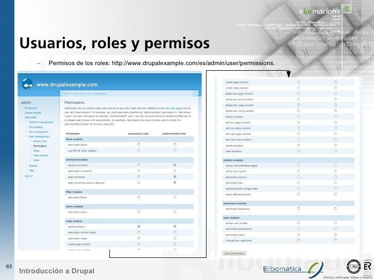 Usuarios, roles y permisos          –   Permisos de los roles: http://www.drupalexample.com/es/admin/user/permissions.    ...