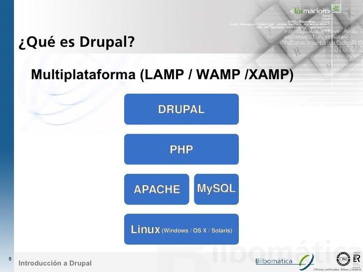 ¿Qué es Drupal?         Multiplataforma (LAMP / WAMP /XAMP)     8     Introducción a Drupal                               ...