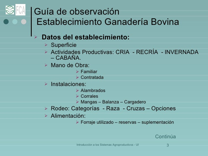 Guía de observación  Establecimiento Ganadería Bovina <ul><li>Datos del establecimiento: </li></ul><ul><ul><li>Superficie ...