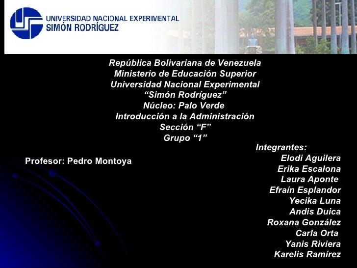 República Bolivariana de Venezuela                    Ministerio de Educación Superior                   Universidad Nacio...
