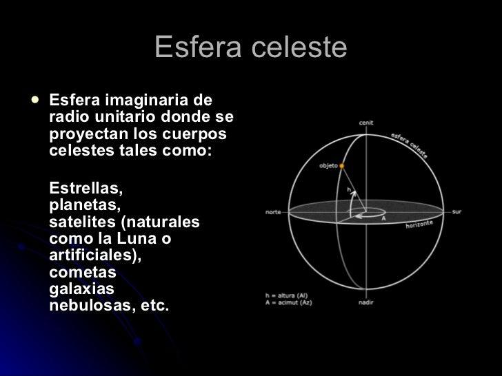 Esfera celeste <ul><li>Esfera imaginaria de radio unitario donde se proyectan los cuerpos celestes tales como: </li></ul><...