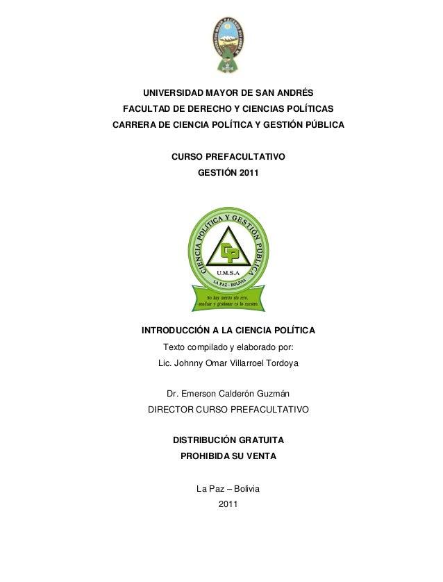 UNIVERSIDAD MAYOR DE SAN ANDRÉS FACULTAD DE DERECHO Y CIENCIAS POLÍTICAS CARRERA DE CIENCIA POLÍTICA Y GESTIÓN PÚBLICA CUR...