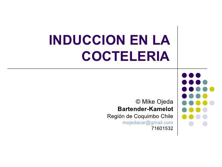 INDUCCION EN LA    COCTELERIA                © Mike Ojeda          Bartender-Kamelot       Región de Coquimbo Chile       ...