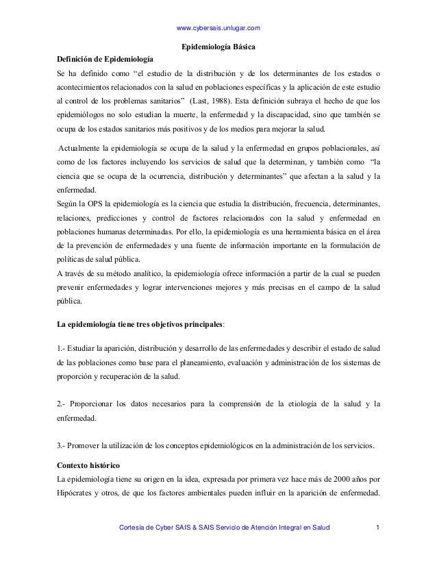 www.cybersais.unlugar.com Cortesía de Cyber SAIS & SAIS Servicio de Atención Integral en Salud 1 Epidemiología Básica Defi...
