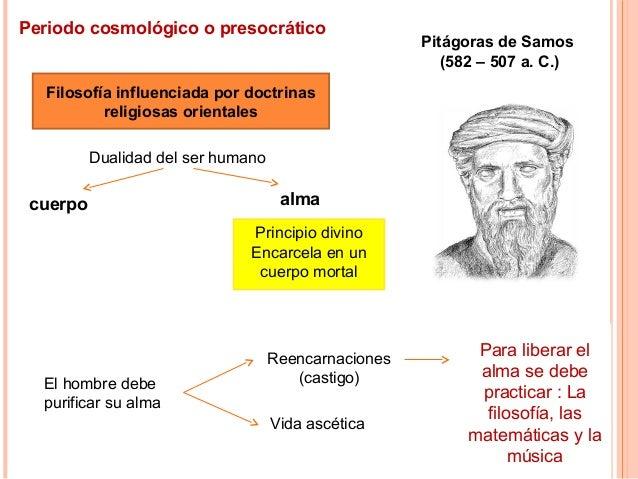 Periodo cosmológico o presocrático Filosofía influenciada por doctrinas religiosas orientales Dualidad del ser humano cuer...