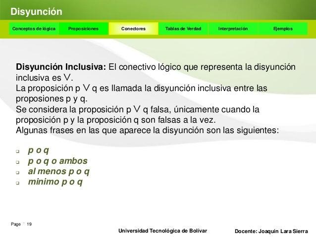 DisyunciónConceptos de lógica   Proposiciones    Conectores      Tablas de Verdad    Interpretación       Ejemplos Algunas...