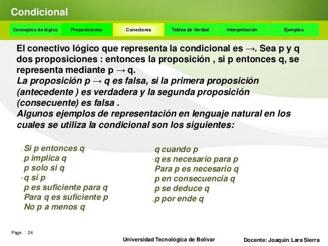 CondicionalConceptos de lógica   Proposiciones    Conectores      Tablas de Verdad    Interpretación       Ejemplos  Algun...